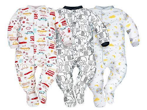 Sibinulo Niño Niña Pijama Bebé Pelele de ABS Pack de 3 Elefantes Negros, Autos y Lunas 92(18-24 Meses)