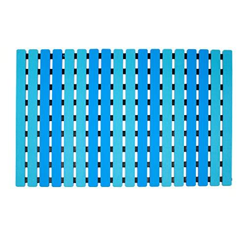 Yolife Alfombrilla de baño Antideslizante ecológica Alfombrilla de Ducha Antideslizante Doble con Drenaje rápido para baño y Tablero de Pato con ventosas de Resistencia TPE 40 * 63 cm (Azul)