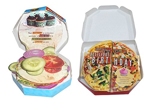 Saugat Traders Birthday Gift for Friends-Kids-Pizza & Burger Themed Birthday Greeting Card-Gift for Wife-Girlfriend-Best Friend-Girls
