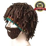 GTGJWinter Hats Red Santa Caps Beard Wig Knit Crochet Warm Snow Ski Unisex Lovers Men Women Kid, Brown Short Hair, Medium