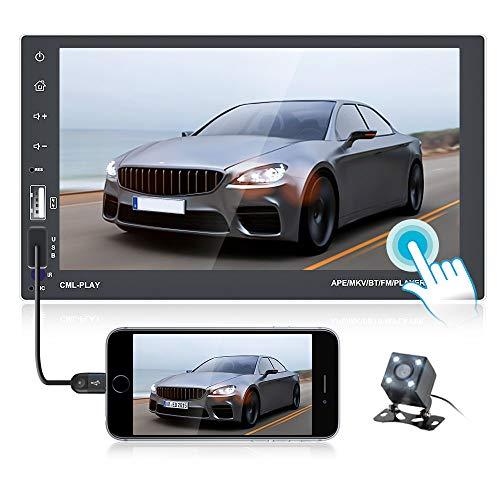 OiLiehu 2 DIN Car Radio Bluetooth Android 7 Pulgadas HD Pantalla táctil Radio FM Soporte Navegación GPS, Conexión WiFi, Control del Volante, Mirror Link, Entrada DVR + Cámara de visión Trasera