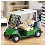 Mini Golf Cart Model LCD Clock with Alarm Temperature and Date, Business Gifts Office Desktop Decoration, Unique Gifts for Golfer Golf Club Fans Souvenir Women Men, Green Color like Grass