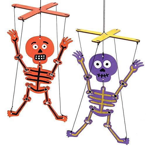 Baker Ross AX245 Skeleton Wooden Puppet Kits for Kids - Pack of 3,...