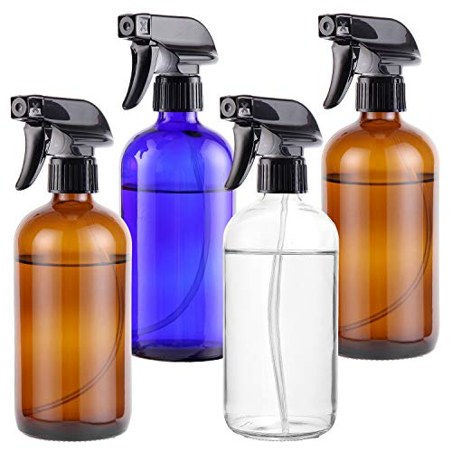Empty Glass Spray Bottles 16oz for Cleaning, Plants, Pets, Essential Oils, Air Freshener, Durable Black Trigger Sprayer with Stream and Mist Settings (Amber+Blue+Clear, 16oz(Pack of 4))
