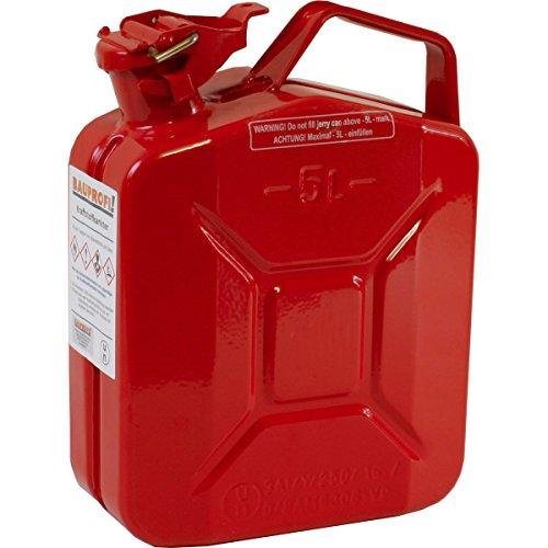 5 Liter Stahlblechkanister GGVS mit Sicherungsstift ROT Benzinkanister Metallkanister 5L