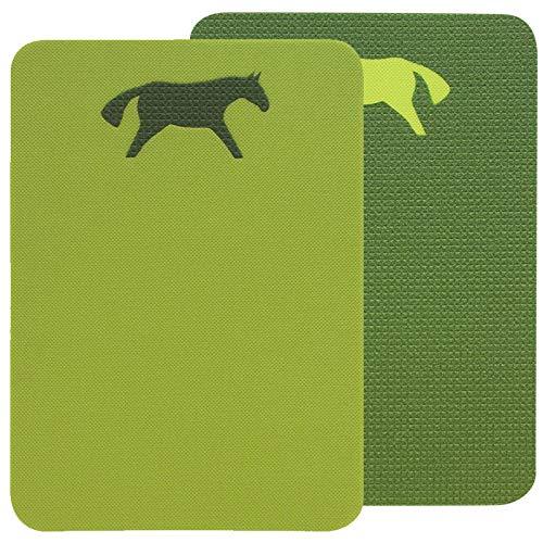 Yate doppeltes Schaumstoff Sitzkissen XXL Pferd Kinder Spielkissen wasserdicht mit Griff wärmende Sitzunterlage 2 farbig Pferdemotiv 40cm x 30cm (hellgrün/dunkelgrün)
