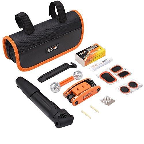 AQQEF Bike Repair Kit, Bicycle Repair Kits Bag With Portable Bike Pump  16-In-1 Bike Multi Tool Kit Sets