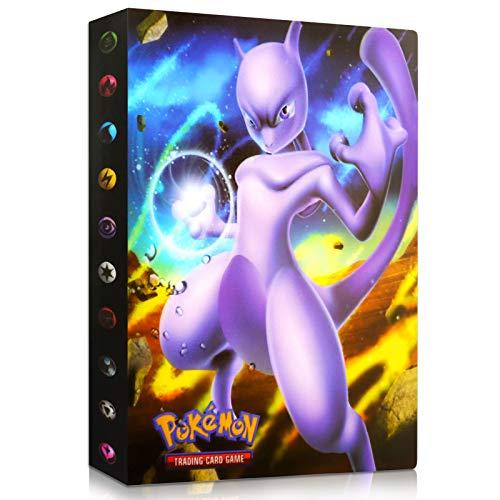 Sinwind Pokemon Sammelalbum, Pokemon Karten Album, Pokemon Karten Halter, Pokemon Ordner Karten Album Buch , Bester Schutz für Pokemon Sammel Karten GX EX Karten Album (Mewtwo)