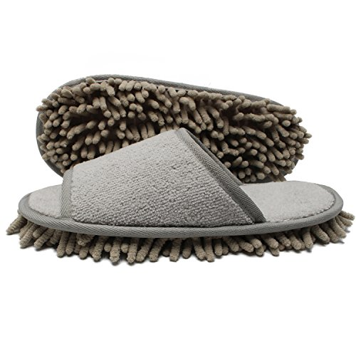 Ofoot Microfiber Chenille Mop Slippers Set,House Dust Dirt Hair Cleaner,Reusable Mop Slippers & Mop Hand Towels for Bathroom Office Kitchen House Polishing Cleaning (Grey+Grey)