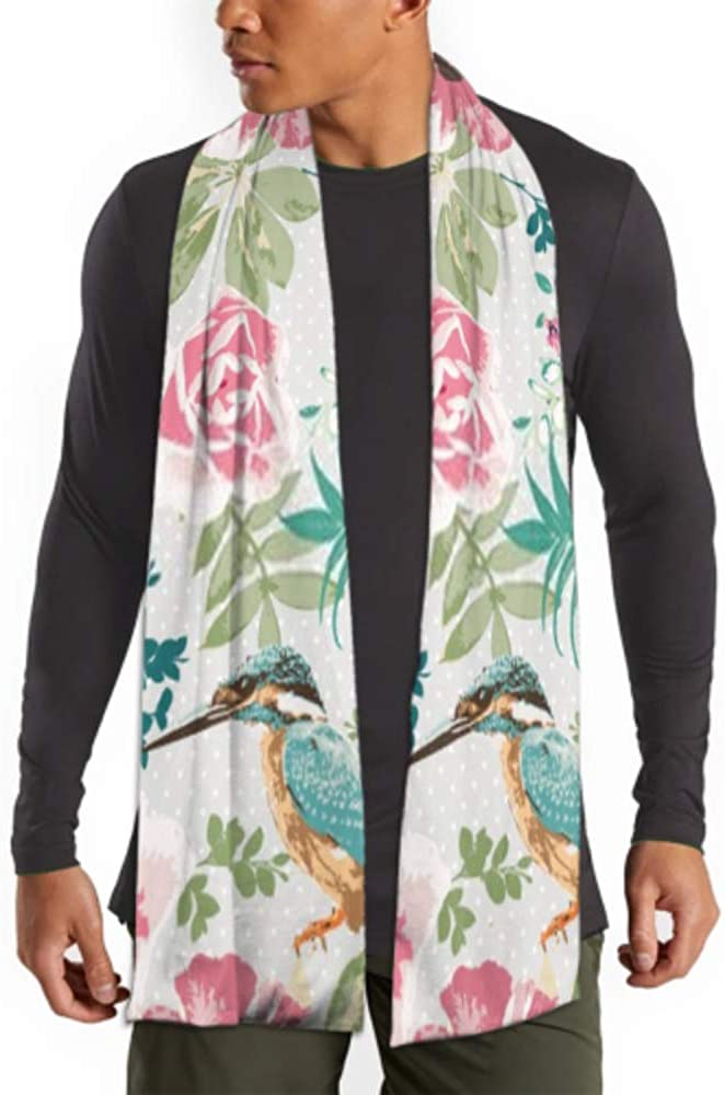 Men's And Women Winter Fashion Scarf Seamless Tropical Floral Birds On Dot Long Plain Warm Soft Scarves For Men - Cotton Scarves For Winter 71inx 11