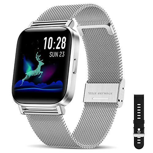 Canmixs Smartwatch Orologio Uomo Donna Impermeabile IP68 Bluetooth Fitness Smart Watch Cardiofrequenzimetro da polso Contapassi Acciaio Digitale 1,54'' Touch Sportivo Activity Tracker per Android iOS