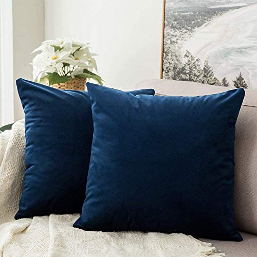 MIULEE Decorative Velvet Cushion Covers 45cm x 45cm/Square Throw Pillowcases for Sofa Bedroom with Invisible Zipper 18x18 Inch Navy Blue Sets of Two