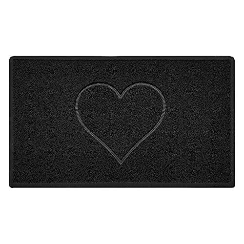 Nicoman Spaghettimatten Fußmatte für den Eingangsbereich Robuste Schmutzfangmatte aus Vinylschlingen   Geprägt Herz【75x44cm, Mittel,Aussen】,Schwarz