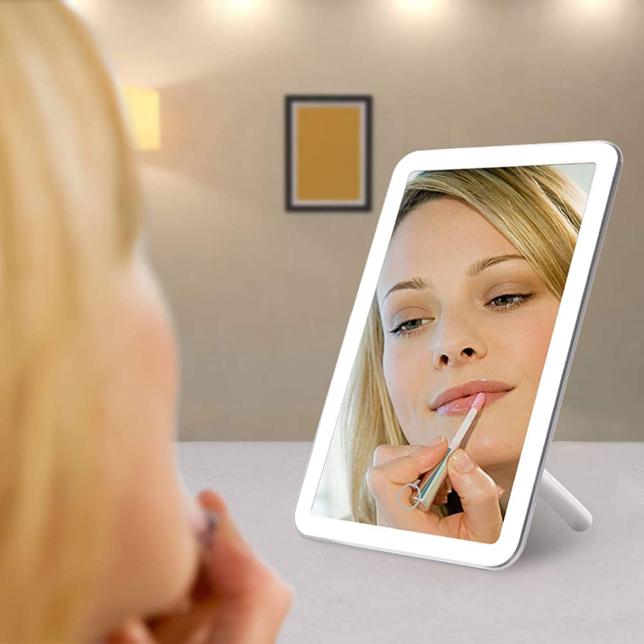 囲む管理者落花生LED化粧鏡、USB充電式タッチスクリーン輝度調節可能180回転デスクトップ化粧鏡家族旅行