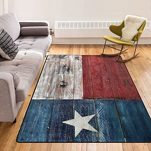 Rustic Wooden Texas Flag Art Area Rugs Floor Carpet Comfort Rug Welcome Doormat Door Mats Decorator for Front Door Living Room Kitchen Bedroom Garden 8460 Inch
