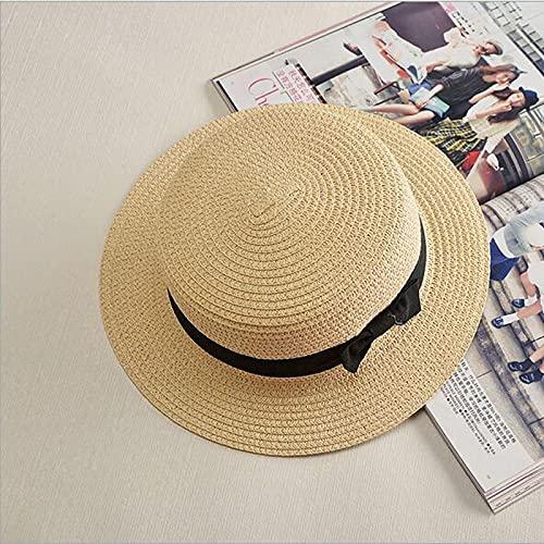 NJJX Sombrero Plano para El Sol Paja con Lazo para Mujer Sombreros De Verano para Mujer Sombrero De Playa Regalo 1