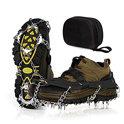 Unigear Ice Cleats, Snow Traction Cleats Crampons for Shoes and Boots with 19 Stainless Steel Spikes for Walking, Hiking, Fishing and Climbing