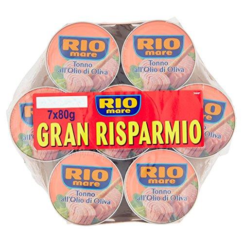 Rio Mare, Tonno all'Olio di Oliva, Qualità Pinne Gialle, 7 Lattine da 80 g
