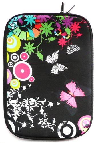 Emartbuy® Mitternacht Schmetterling Dschungel Water Resistant Neopren Soft Zip Case Cover geeignet für Dell Precision M4800 15.6 Zoll Workstation ( 15-16 Zoll Laptop / Notebook / Ultrabook )