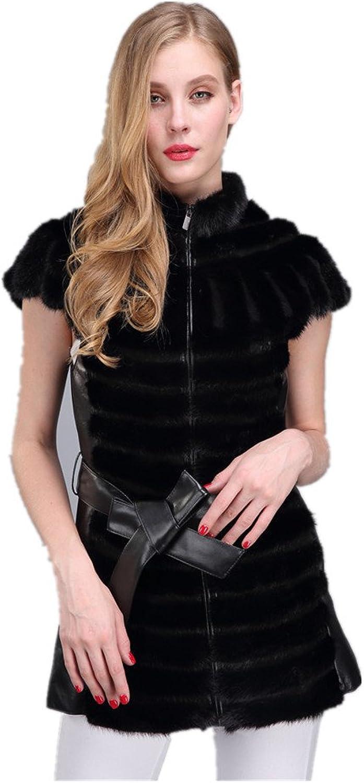 LVCOMEFF Lady Genuine Mink Fur Vest Belt Striped Women Long Gilet 1706005