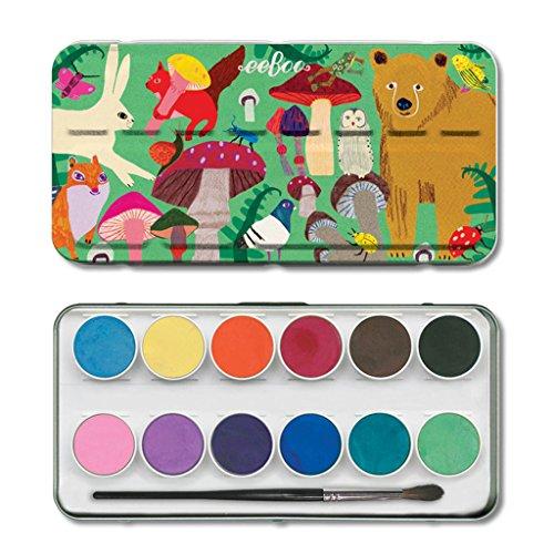 eeBoo Watercolor Paint Set for Kids, Woodland