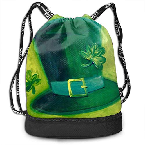 Bolsas de Cuerdas,Bolsas de Gimnasia,Mochilas Tipo Casual, Hat and Big Leaves Print Drawstring Bag Backpack Sport Travel Gym School Hiking Yoga Beach Cinch Bags Bundle Backpack For Women/Men