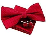Retreez - Pajarita pequeña, de lunares, preanudada, 12 cm, con pañuelo cuadrado de bolsillo y gemelos - Set de regalo rojo Red with Navy Blue Dots Talla única