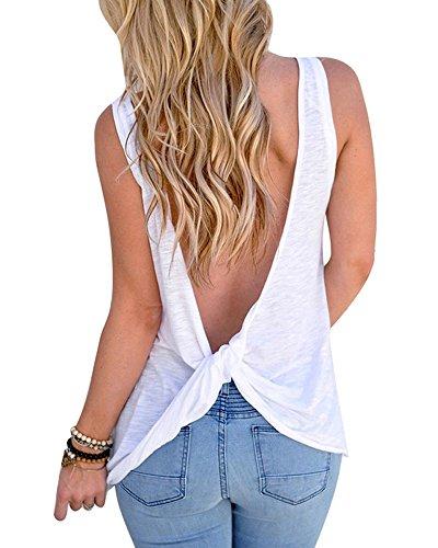 Mujeres Backless Sleeveless Tank Top con Espalda Abierta Nudo Casual Shirt Tee (Blanco, M :38/40)