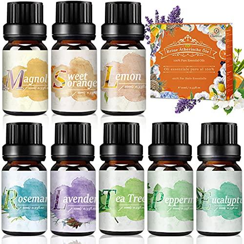 Aceites Esenciales 100% Puros Naturales - OUKZON 8x10ML Set de Aromaterapia Aceite para Humidificador y Diffusor Aroma - Lavanda, Magnolia, Romero, Naranja Dulce, Limón, Árbol del té, Menta, Eucalipto