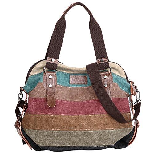 Eshow Borsa a Tracolla in Tela da Donna Multicolore Multifunzione Tote per Lavoro Uso Quotidiano Borse a Spalla Vintage alla Moda