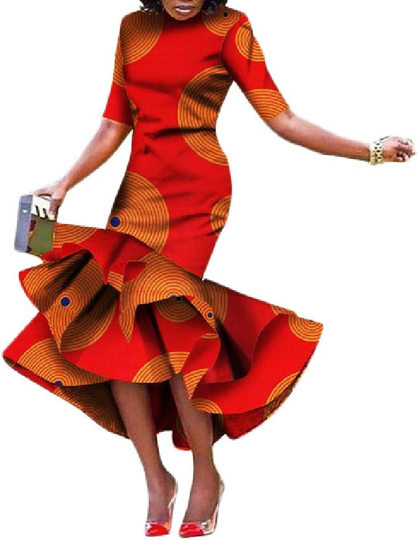 FieerWomen Long Fishtail Short Sleeve Bodycon Floral African Print Dresses