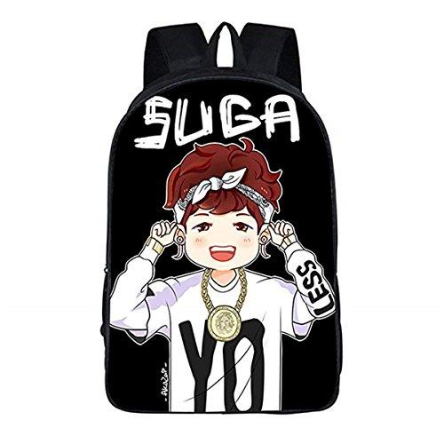 Kpop BTS GOT7 Mochila escolar Bangtan Boys Messenger Bag (BTS SUGA, talla única)