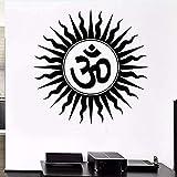 Pegatinas de pared murales Calcomanías Religiosas hindúes India Símbolo sánscrito Dormitorio casero Vinilo removible Yoga Mural 57X57cm