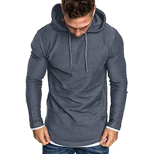 ZIYOU Langarm Kapuzenpullover Herren, Herbst Winter Casual Sport Sweatshirt Hoodies Top Hemd Trainingsanzüge Streetwear Pullover(L,Dunkelgrau)