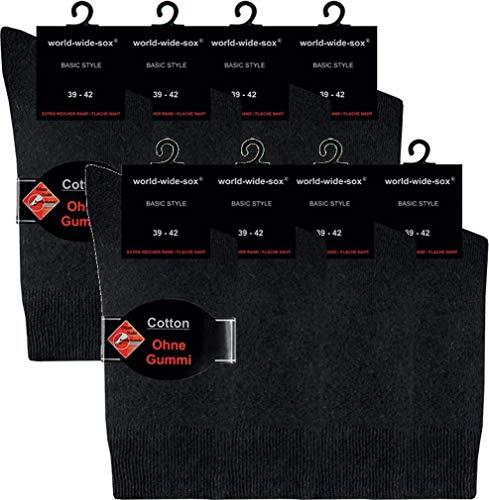 world wide sox | Socken & Strümpfe für Damen | Baumwolle elastisch ohne Gummi | 8 Paar | schwarz | 39-42