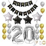 Juland Juego de Globos de cumpleaños 20 de Plata y Oro Negro Conjunto de artículos de decoración Feliz cumpleaños Banner Látex de Globos Decoración Láminas de Estrellas Globos de Plata Número 20
