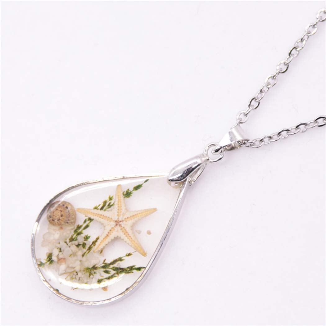 Starfish Pendant Necklace Teardrop Sweater Chain Jewellery Resin Long Necklace Chain for Women