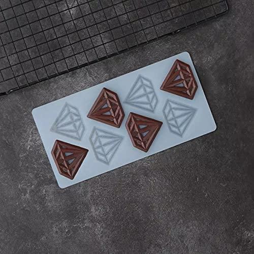 AAKK Molde De Chocolate De Silicona con Forma De Diamante Ahuecado para Decoración De Pasteles Molde De Transferencia para Decoración De Tartas Decorativas DIY
