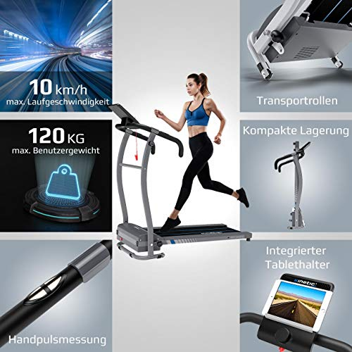 Kinetic Sports KST1650FX Laufband 500 Watt leiser Elektromotor 6 Pogramme, GEH- und Lauftraining, Tablethalterung, stufenlos einstellbar bis 10 km/h, klappbar - 4