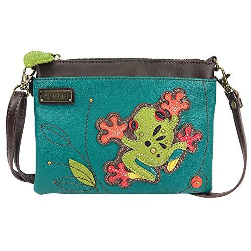 Chala Mini Crossbody Handbag, Multi Zipper, Pu Leather, Small Shoulder Purse Adjustable Strap, Turquoise - Frog, 8' x 0.5' x 6', adjustable strap 7' x 30' approx