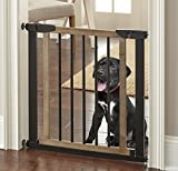 "Logan Dog Gate - Indoor Pet Barrier, Expandable to 40"", Walk Through Swinging Door, Extra Wide, Pressure Mounted, Walls, Stairs. Small and Large Dogs. Wood, Metal. Best Dog Gate. NMN Designs"