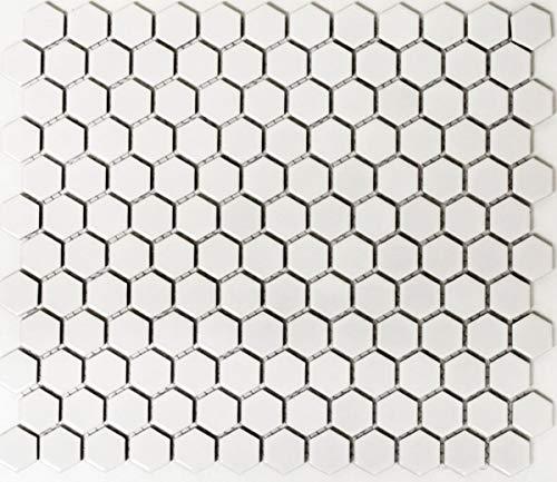 Mosaik Fliese Keramik Hexagon weiß matt Wand Dusche Fliesenspiegel Wandfliesen MOS11A-0111