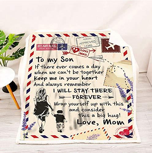 XXXZZL To My Son from Mum Blanket - Mantas de sofá de Cama de Franela con Mensaje Personalizado con Letras, ¡para mi Hijo, Este es un Gran Abrazo!,150 * 200