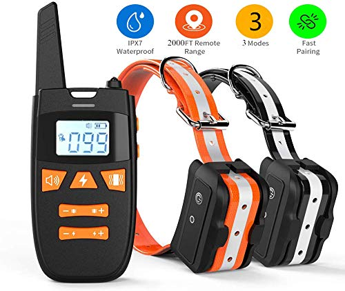 Shock Collar for 2 Dogs, Rechargeable 100% Waterproof Dog Training Collar,2000FT Range Dog Shock Collar with Remote, 3 Modes Beep/Vibration/Shock Collar for Small Medium Large Dogs (Orange+Black)