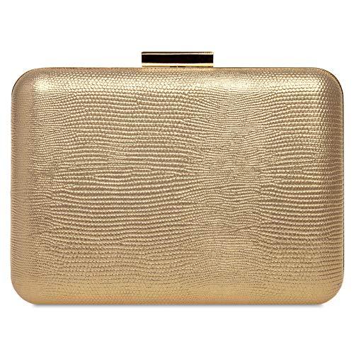 Caspar TA529 elegante Damen Snake Skin Box Clutch Tasche Abendtasche, Farbe:gold,...
