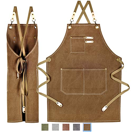 JES & MEDIS Apron, Canvas, Bib, Cafe Apron, For Work, Artisans, One Size Fits Most, 5 Colors, For Hairdressers, Gardening, Chef, Bar -