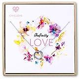 CHICLOVE Infinity Love Knot Pendant - Collar de Plata con círculos, Collar de Doble círculo, Regalo de Plata de Ley para Mujeres