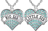Easter Basket Stuffer Ideas Jewelry Necklace Gifts for Sisters, Big Sis & Lil Sis Heart Necklace Set for 2, Sister Necklaces, Big & Little Sisters Birthday Gifts, Granddaughter Gifts (Aqua Blue)