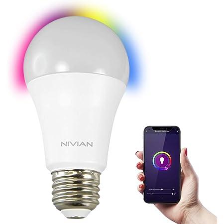Nivian–Bombilla inteligente-Wifi 2.4Ghz–Colores RGB ajustable–Casquillo E27–Consumo 8W, 800 lúmenes,hasta 3000K(luz cálida)-Compatible con Amazon Alexa y Google Home–Control remoto con APP Tuya