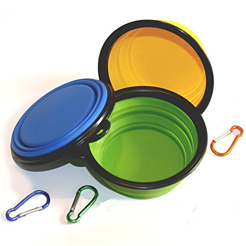 COMSUN 3-Pack Collapsible Dog Bowl, Foldable Expandable Cup Dish for Pet Cat Food Water Feeding Portable Travel Bowl Blue Green Yellow Free Carabiner